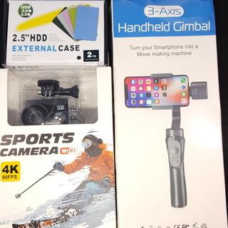 4Kアクションカメラ ジンバル モバイルHDDセット