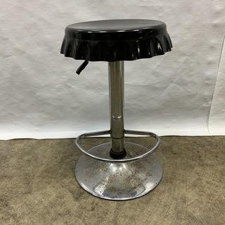 アメリカン 油圧式昇降 カウンターチェア 直径40㎝ 高さ60-...