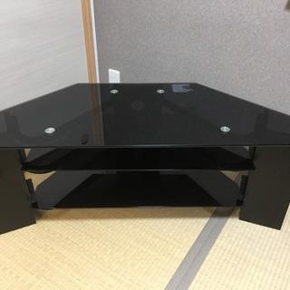 40インチ テレビ台 黒 強化ガラス天板