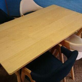 コスパダイニングテーブル・プラス天然木椅子4脚セット