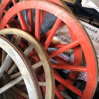 レア!赤くて大きな車輪 アンティーク インテリア 荷車 商売繁盛...