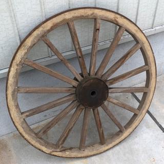 ガーデニング アンティーク 大きな車輪 木製 大八車 車輪 (荷車)