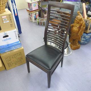 木製ハイバックダイニングチェア 1人掛け椅子 食卓いす ダークブ...