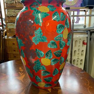 イタリア製 輸入雑貨 傘立て 赤 花柄 陶器 リビングスタジオ ...