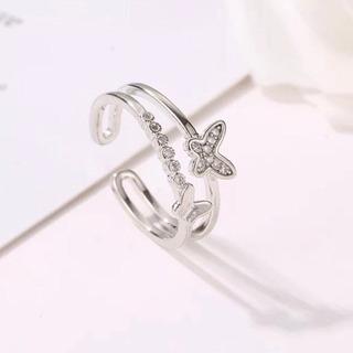 新品 リング 蝶々 シルバー silver フリーサイズ 指輪