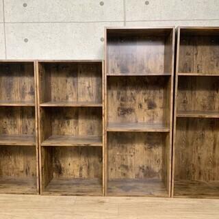 K5*52 ウッド調 3段ボックス 収納棚 4つセット カラーボックス