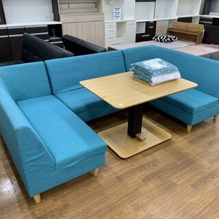 HIKARI ソファーダイニング4点セット ブルー 替えカバー付...