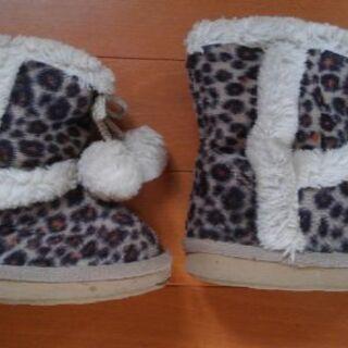 14㎝ ヒョウ柄 子供ブーツ 冬物