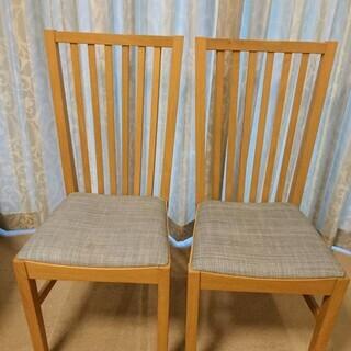 オーク無垢材 椅子2脚で3000円 ダイニングチェア IKEA ...