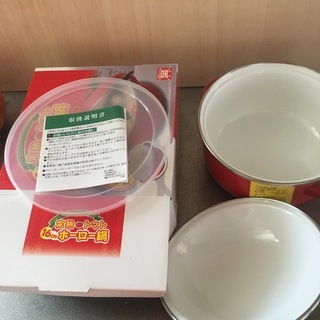 未使用 赤いホーロー鍋 16cm トマト柄 - 生活雑貨