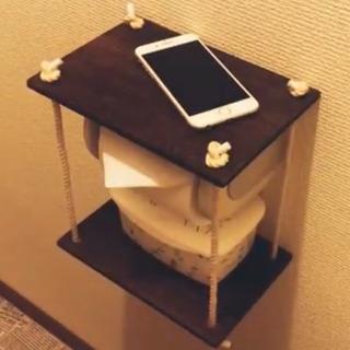 ハンドメイド  トイレ  スマホ置き  置くだけタイプです  便利グッズの画像