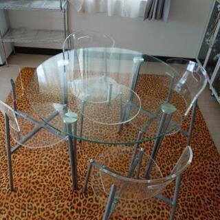 ガラステーブル、イスセット