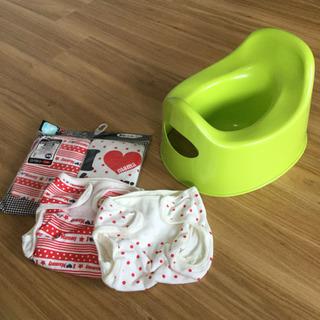 【新品】4枚布おむつカバー(60)+IKEAオマル