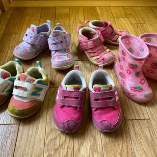【ユーズド】女の子用シューズ、長靴、5足、13センチが多め