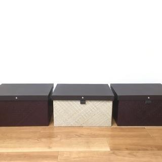 パンダンで出来たフタ付収納ボックス Lサイズ 3個セット