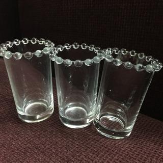 縁飾りが可愛いガラスカップ3点セット 一輪挿しやインテリア等に