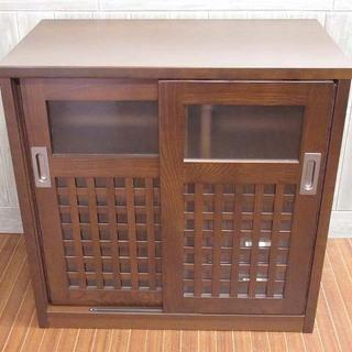 ss1324 木製 キッチンボード ダークブラウン 扉2枚 引き...