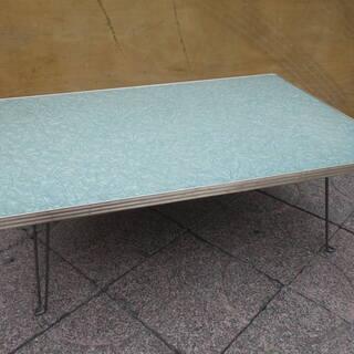 ■配達可■昭和レトロ 折りたたみテーブル グリーン系 足折…