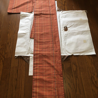 リメイク用アンティーク着物 オレンジ色チェック