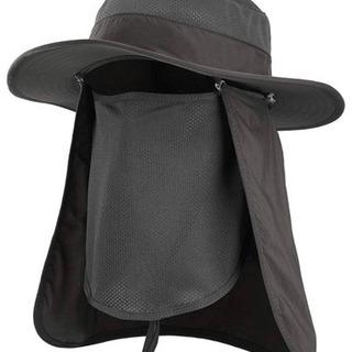 アウトドア 帽子  農作業用 UVカット フェイスカバー付き