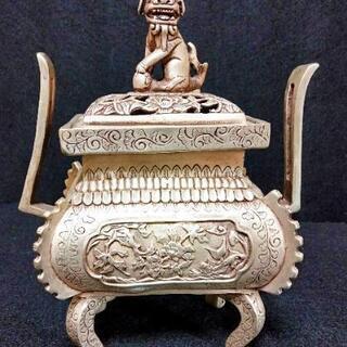 中国骨董品 シルバー香炉 大明宣徳年製 花文様と可愛らしい男の子...