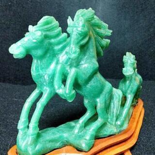 中国骨董品 碧玉 透かし彫り パワフルな駿馬奔騰の造型 一生懸命...
