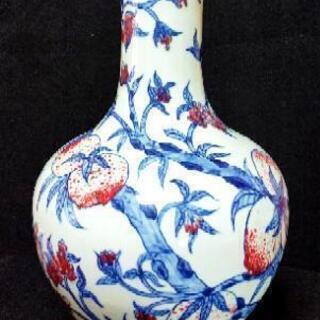 中国骨董品 陶磁器 釉裏紅九桃天球瓶 大清乾隆年製 素敵な色合い...