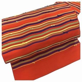 ◇名古屋帯 織り出し◇ 正絹 八寸名古屋帯 長さ367cm (赤)