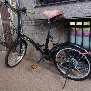 20インチ カゴ付き 折り畳み自転車