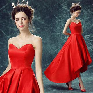 ドレス ウエディングドレス 赤 結婚式 ブライダル