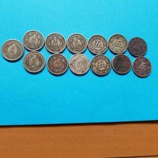 明治古銭稲5銭白銅貨明治三十一年が7枚 菊5銭白銅貨6枚まとめて
