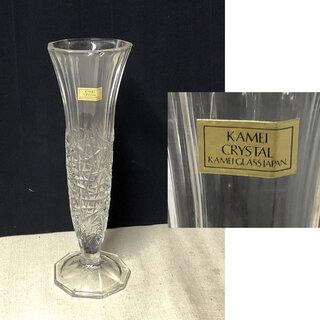 c798 ガラス 花瓶 KAMEI CRYSTAL 花入れ KA...