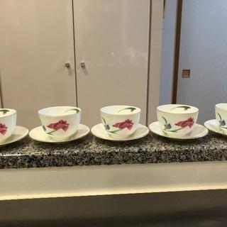 龍峯釜 高級湯呑み茶碗と受け皿5個セット 美品