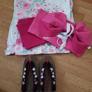 【浴衣一式セット】ピンク 下駄付き 花火 お祭り  夏休み 着物