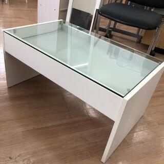 センターテーブル ローテーブル 収納引出し ガラステーブル 白 ...