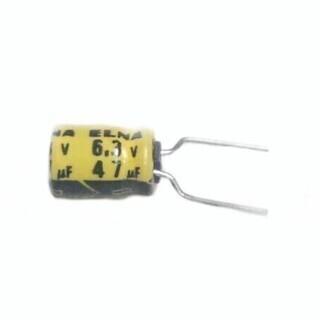 ELNA製 背低小型電解コンデンサー 6.3v47uf  5×7mm