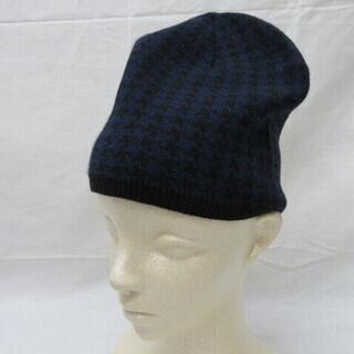 未使用 個性派 ニット帽子 約54cm 紫/黒