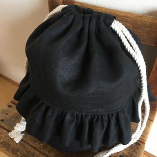 リネンのフリル巾着バッグ
