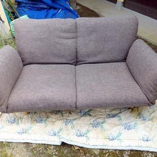 布製二人掛けリクライニングソファー 中古