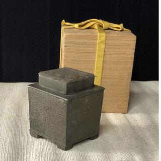 a874 古錫 茶入れ 唐物 中国古玩 錫製 合わせ箱 茶道具