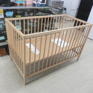 木製ベビーベッド 124×66×80 イケア ナチュラル シンプ...