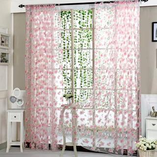 【新品】春 花 植物柄 レースカーテン さくら色 2枚組