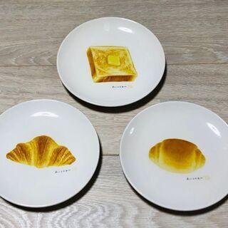 パン皿三枚セット(白皿・パン柄皿)新品
