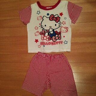【110cm】キティちゃんパジャマ(半袖夏用)