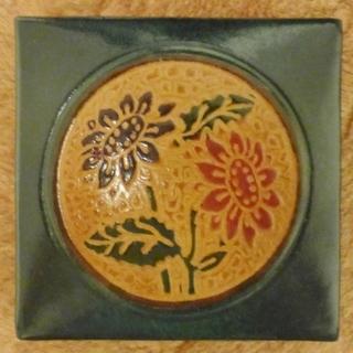 花柄の小銭入れ 革製 未使用品