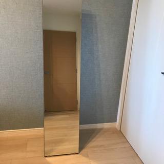 【値下げ】壁掛け可 スタンドミラー 全身鏡 ウォールナット