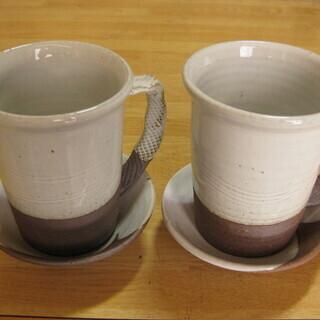 萩焼 マグカップ 受け皿付き 松野龍司・作  新品未使用品
