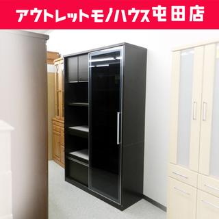 キッチンボード 幅120cm 【松田家具】 スライドドア ブラウ...