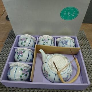 未使用品‼️有田焼/ 夢彩器/ 二色花土瓶茶器/ 急須と湯呑み5...