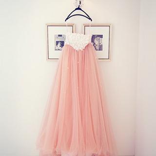 ウエディングドレス カラードレス トレーン付き